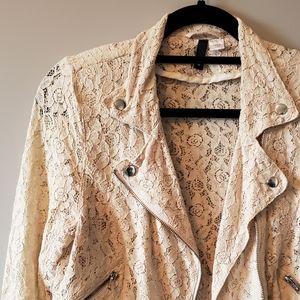 H&M Lace Cropped Moto Jacket